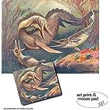 Set Regalo: 1 Póster Impresión Artística (80x60 cm) + 1 Alfombrilla Para Ratón (23x19 cm) - Dinosaurios, Mosasaurio Y Ictiosaurios, Heinrich Harder, 1912