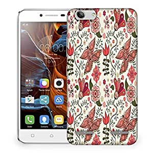 Snoogg Floral Leaves White Designer Protective Phone Back Case Cover For Lenovo K5 Vibe