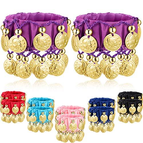 Zhanmai 6 Paare Bauchtanz Handgelenk Fußfesseln Armbänder Chiffon Goldmünze Bauchtanz Kostüm Zubehör (Farbe A)