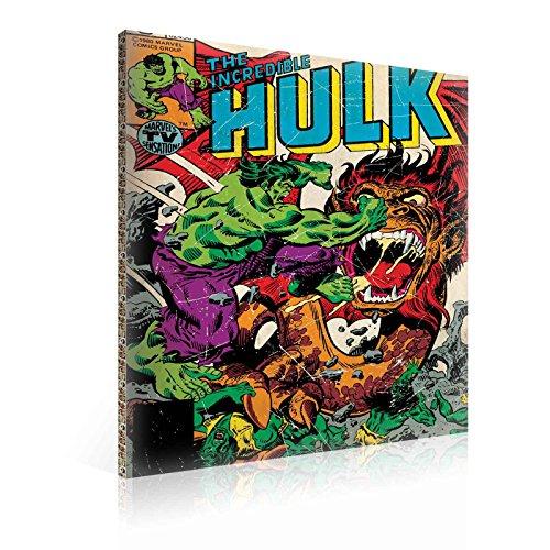 TapetoKids Leinwandbild Marvel Hulk Retro Comic Book Cover - XXL - 100 x 75 cm - Komplettpaket! - fertig gerahmt und inklusive Aufhängung - hochwertige 230g/m² Leinwand auf Keilrahmen - kinderleichte Anbringung