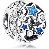 MOCCI Perle di Natale Adatto Pandora Charms Bracciali Vintage Night Sky Shimmering Blu mezzanotte Smalto e Clear CZ Charm Bea