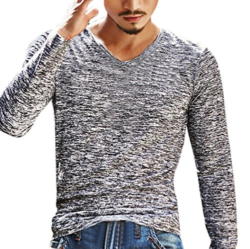 FNKDOR New Mens Home Casual Solid V Neck Long Sleeve T Shirt Top Slim Blouse