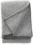 Klippan: Dunkelgrau cremefarben melierte Wolldecke 'Domino' 130x180cm, umkettelt, 100% Schurwolle