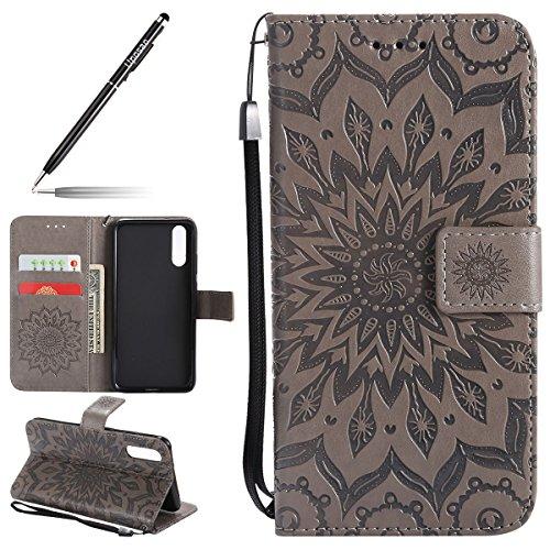 Kompatibel mit Handyhülle Huawei P20 Leder Tasche Schutzhülle Brieftasche Handytasche Retro Vintage Henna Mandala Blumen Ledertasche Lederhülle Klapphülle Case Flip Cover,Grau