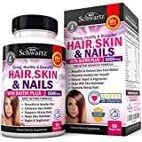 Hair Skin and Nails Vitamin with Biotin 5000 mcg :: Promotes Hair Growth, Glowing Skin, Strong Nails. Natural, Vegan and Vegetarian. Good as Phytoceramides 350 mg Anti-aging Skin Care. Made In USA by Schwartz Bioresearch