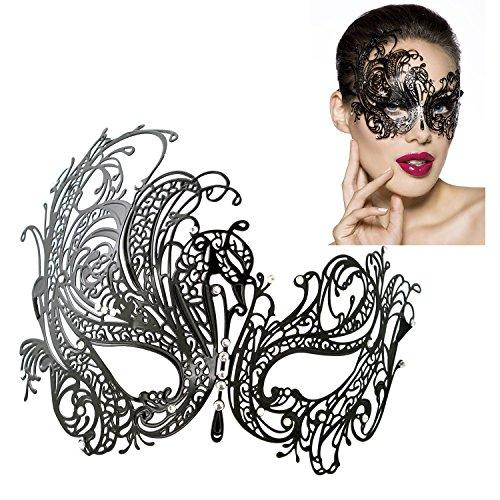 Masquerade Damen Ball Masken (DSstyles Diamante Luxus venezianischen Stil Metall filigranen Masquerade Maske Prom Ball Verona)