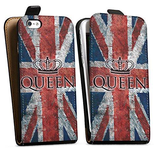 Apple iPhone X Silikon Hülle Case Schutzhülle Queen Großbritannien Flagge Union Jack Downflip Tasche schwarz