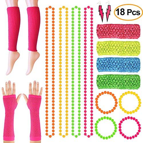 FEPITO 18 Pcs Neon Perlen Halsketten Armbänder Blitz Ohrringe Netzhandschuhe Neon Beinstulpen Dehnbare Stirnbänder Für 80er Jahre Kostüm, 80er Jahre Party (Kostüm Aus Den 80er Jahren)