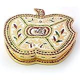 Little India Golden Meenakari Work Apple Design Dryfruit Box (424, Gold)