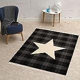 HANSE Home Design Velours Teppich Stern mit Fransen 140x200 cm Schwarz Creme Grau   102348