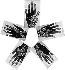Laminau Henna Stencils Tattoo Mehndi Reusable Stickers Pack Of 5 (Left Hand)