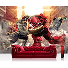 Papel Pintado Fotográfico Premium Plus pared Marvel Avengers-Papel pintado fotográfico pintado cuadro-Niños niños pintado Action Hulk Robot Calle Rojo-No. 2416, rojo, Fototapete 312x219cm   PREMIUM PLUS