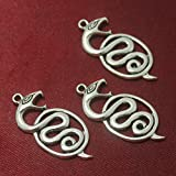 #9: Beadsnfashion German Silver Snake Pendants 30x15 mm, Pack of 39 Pcs.