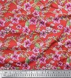 Soimoi Orange Viskose Chiffon Stoff Blätter & Blüten
