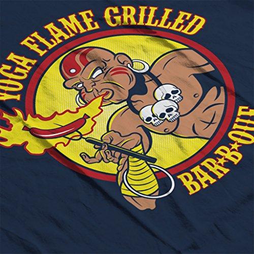 Street Fighter Dhalsim Yoga Flame Grilled BBQ Womens Sweatshirt Navy blue