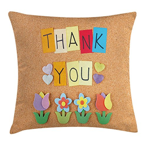 tgyew Thank You Decor Throw Pillow Cushion Cover, Gratitude Themed Quote on Little Hanging Papers Post It with Flowers Print, Decorative Square Accent Pillow Case, 18 X 18 Inches