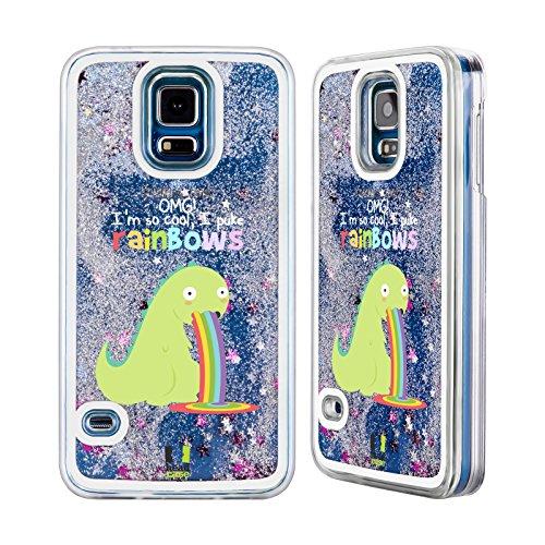 Head Case Designs Einhorn Regenbogenkotze Silber Handyhülle mit flussigem Glitter für Apple iPhone 5c Dinosaurier