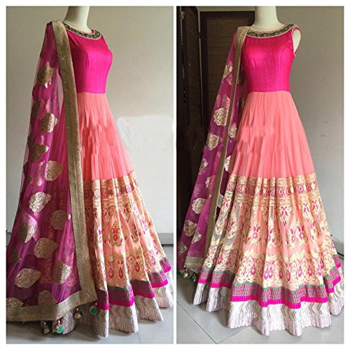 Sargam Fashion Embroidered Multicolor Net Fashion Anarkali Style Party Wear Semi-Stitched Suit. - SRSF379