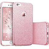 iphone 8 plus Case Lanpangzi 3 in 1 Custodia Ultra Sottile TPU Silicone Bling Non Scivolata Design Anti Graffio Shell - Rosso D'oro