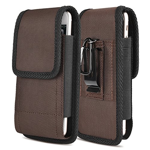 iPhone 7 Plus Vertikal Gürtel Tasche,iNNEXT Handytasche Gürteltasche Gürtelclip Fall Holster Pouch Oxford Canvas für Samsung Galaxy S8 plus/iPhone 6 6S PLUS,Oneplus 5,Galaxy S6Edge Plus(Braun 5.5inch) (Gürtel-clip Holster Iphone 6)