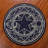 KOOCO Schöne Sterne Mond Flanell Fuß Tür Yoga Stuhl hängenden Korb Mat Flur Teppich Teppich Runde Pinke Rot Lila Schwarz Kind im Zimmer, Schwarz Golden, Durchmesser 160 cm