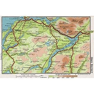 OBAN DISTRICT. Vintage map plan. Argyll & Bute. Loch Awe. Scotland - 1967 - old antique vintage map - printed maps of Scotland