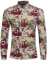 BUSIM Men's Long Sleeve Shirt Fashion Ethnic Style Print Leaf Button Casual Fashion Trend Basic T-Shirt Slim Shirt...