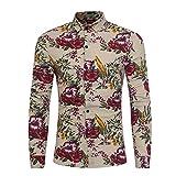 VEMOW Herbst Winter Herren Männer Mode Blumendruck Taste Langarm Klassischen Täglichen Party Business Grundlegende T-Shirt Bluse Top(Türkis, EU-48/CN-L)