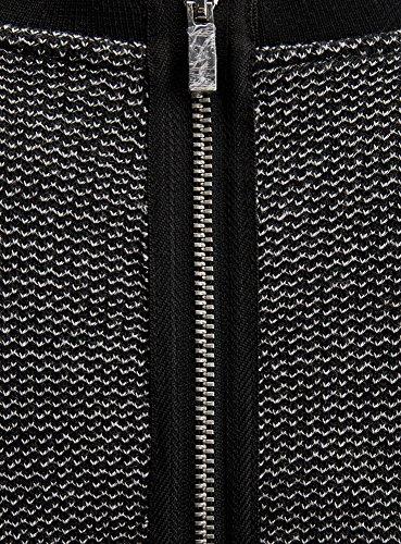 oodji Ultra Damen Jerseykleid mit Kontrastbesatz Schwarz (2912S)