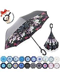 ZOMAKE Paraguas plegable reverso con manos en forma de C Mango - Protección inversa a prueba de viento de doble capa inversa inversa de los coches paraguas plegables (Flor de la belleza)