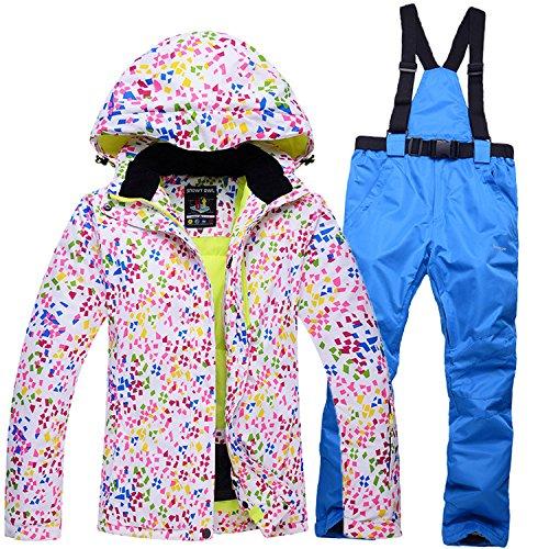HUA&X Frauen Mantel ski Jacke hose Anzug wasserdichte Regenjacke warme zipper Hosen verdickt, Set 6, M
