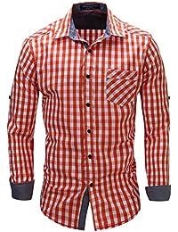 Kuson Camisa Hombre de Manga Larga Personalidad Casual Plaid Shirts