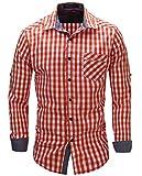 Kuson Herren Kariert Hemd Slim Fit Bügelleicht Doppelfarbig auch fürs Oktoberfest geeignet Orange, 2-XL