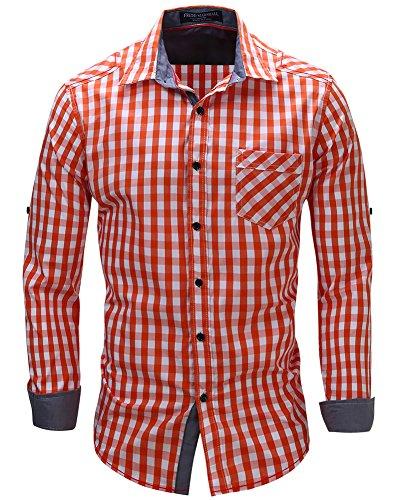Kuson Herren Kariert Hemd Slim Fit Bügelleicht Doppelfarbig auch fürs Oktoberfest geeignet Orange, 3-XL
