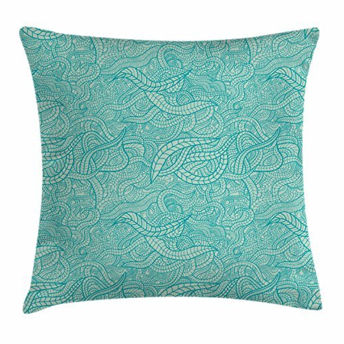 Aqua Throw Pillow Cushion Cover by Ambesonne, Vintage Botanic Nature Leaves Veins Swirls Ivy Mosaic Inspired Image Print, Decorative Square Accent Pillow Case, 16 X 16 Inches, Turquoise and White