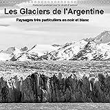 Les glaciers de l'Argentine : Champs de glace imposants du sud de la Patagonie en noir et blanc. Calendrier mural 2017
