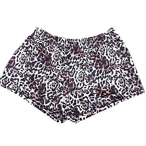 MOIKA Damen Hot Hosen, New Frauen Hot Hosen Sommer beiläufige Leopard Print Shorts mittlere Taille kurze Hose(S,Brown) (Tee-shorts-leggings)