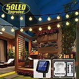 50 LED Solar Lichterkette und Batterie(2 in 1) Outdoor Lichter Wasserfest Gartenlicht 8 Modus 7 Meter Kristallbälle...