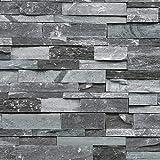 XPY-Wallpaper Marmor-Kulturstein-Ziegelsteintapete der Retro- Marmorierung 3D chinesische antike Backsteinmauerhotel-Gaststättentapete, grau