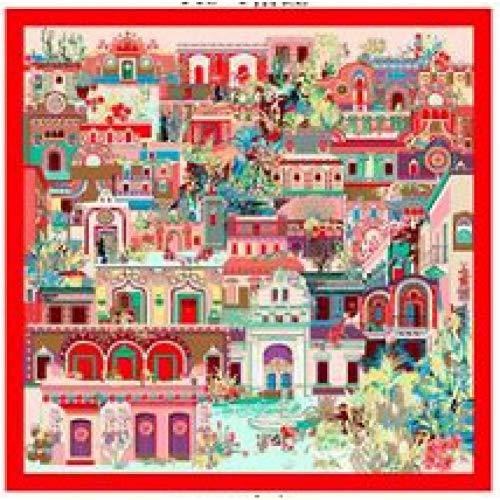 JJHR Seide Schal Chiffon für Für Oil Painting Abstract Building Scarf 90 * 90 Square Scarf Shawl Female -