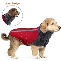 SlowTon Wintermantel für Hunde, Warmes Futter aus Polar Fleece Außenjacke für Hunde mit Rollkragenschal Reflexstreifen…
