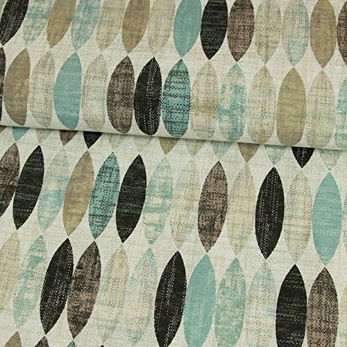 (Dekostoff ovales Retro Muster mint Canvasstoff - Preis gilt für 0,5 Meter -)