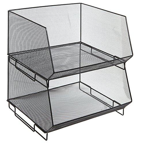 MyGift Deluxe stapelbar Metall Drahtgitter Fruit & Produkte Korb Rack, Küche stapelbar Bin, Set von 2 (Draht-rack Storage Bins)