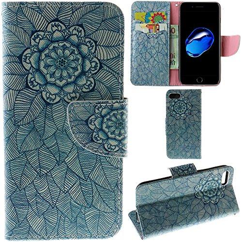 Ooboom® iPhone 5SE Coque PU Cuir Flip Housse Étui Cover Case Wallet Portefeuille Fonction Support avec Porte-cartes pour iPhone 5SE - Violet Fleur Fleur Feuilles
