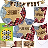 Neu: 85-tlg. Party-Set * Sheriff * für Kindergeburtstag   Teller + Becher + Servietten + Einladugen + Deko   Kinder Geburtstag Motto Wilder Westen Cowboy