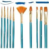 Set di 10 Pennelli Acrilici per Pittura artistica,Nylon Pennelli Sintetici per Dipingere Pittura Acrilica, Acquerello, Pittur