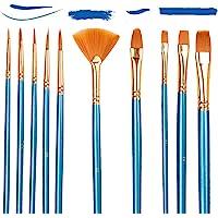 10PCS Pinceaux Peinture Acrylique, Nylon Pinceaux Artiste Plume Lisse, Pinceaux de Peinture à l'huile pour Aquarelle…