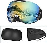 Charlemain Maschera da Sci, Occhiali da Sci OTG, Occhiali da Snowboard Antivento Anti Fog Protezione UV400, Ampio Angolo di V