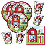 Unbekannt 48-Teiliges Party-Set Farmhouse Fun 1. Geburtstag - Bauernhof - Tiere - Pferd, Kuh, Schaf, Schwein, Teller Becher Servietten für 16 Kinder …
