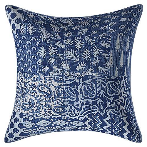 Stylo Culture Indische Baumwolle Dekorativer Überwurf Kissenbezug Indigo Blau 16x16 Boho Patchwork Kantha Sofa Kissen 40x40 cm Home Decor (1 Stück) quadratische Kissenbezüge -
